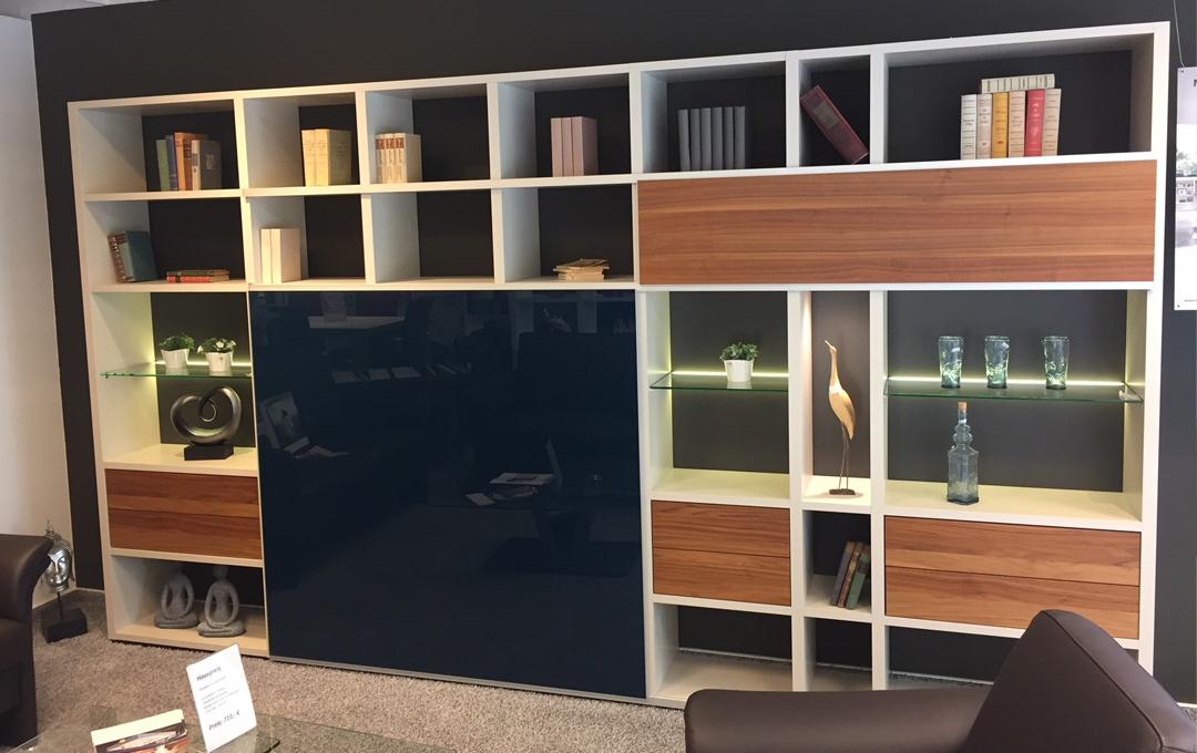 wohnstudio a neuhaus sohn musterst ck h lsta wohnwand mega design lack wei matt. Black Bedroom Furniture Sets. Home Design Ideas